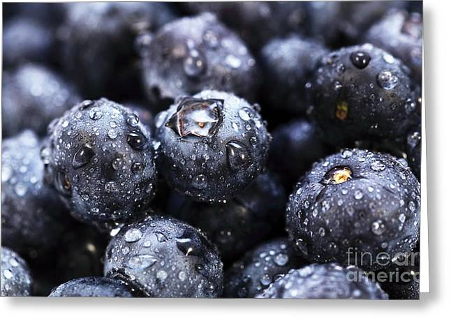 Blueberry Close Up Greeting Card by John Rizzuto