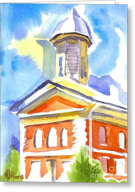 Blueberry Paintings Greeting Cards - Blueberry Courthouse Greeting Card by Kip DeVore