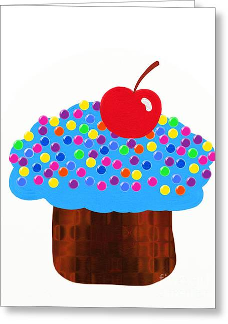 Frosting Digital Greeting Cards - Blueberry Cupcake Greeting Card by Andee Design