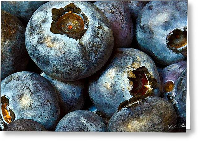 Blueberry Drawings Greeting Cards - Blueberry Detail Greeting Card by Cole Black