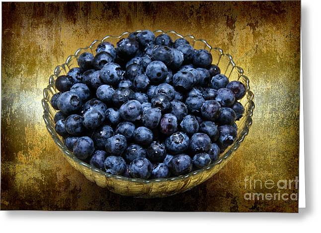 Awesome Mixed Media Greeting Cards - Blueberry Elegance Greeting Card by Andee Design
