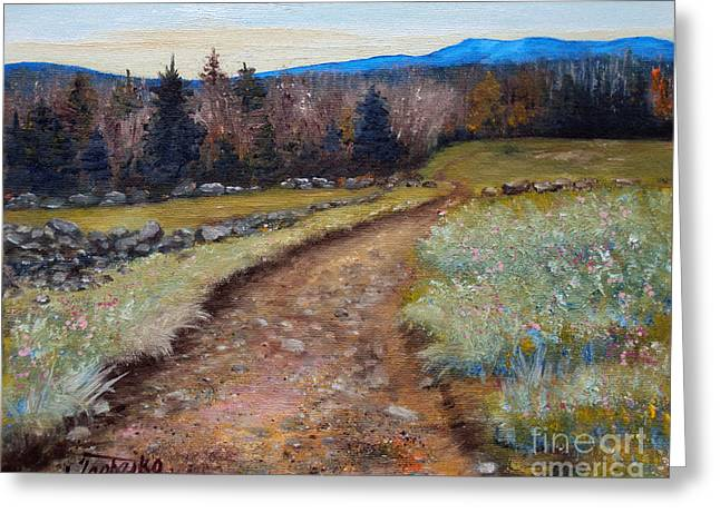 Maine Spring Paintings Greeting Cards - Blueberry Field Early Spring Greeting Card by Laura Tasheiko