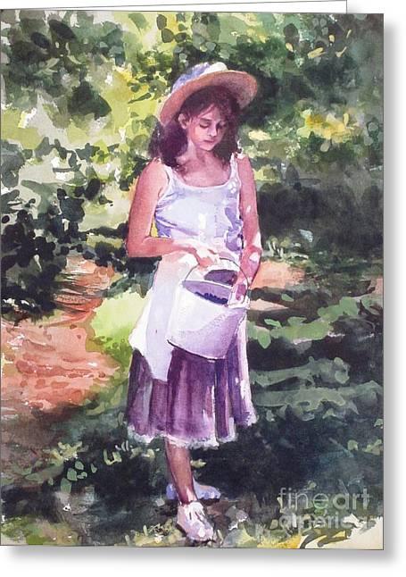 Recently Sold -  - Elizabeth Carr Greeting Cards - Blueberry Girl Greeting Card by Elizabeth Carr