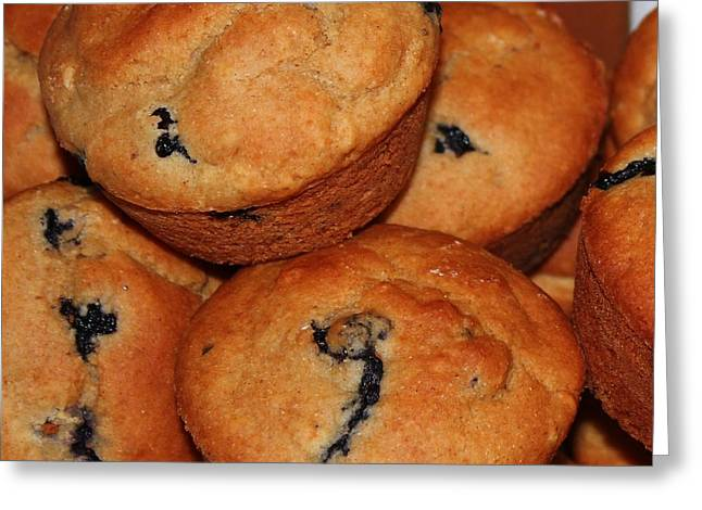 Gluten Free Greeting Cards - Blueberry Gluten Free Muffins Greeting Card by Barbara Griffin