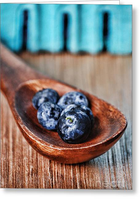 Wooden Box Greeting Cards - Blueberry Greeting Card by HD Connelly