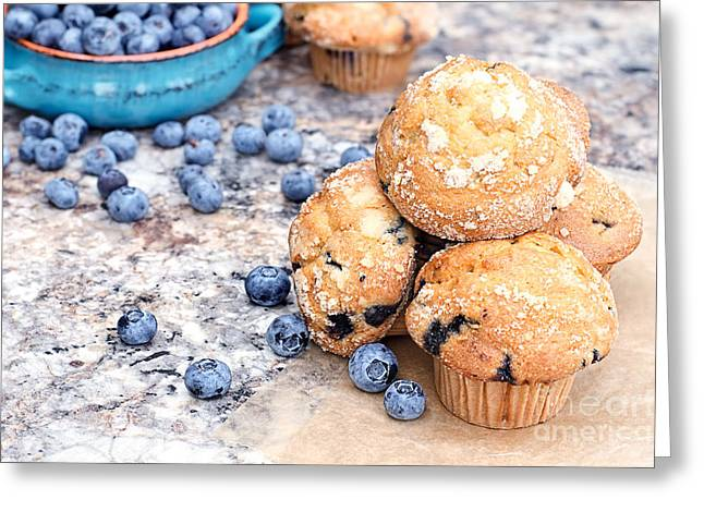 Ready-to-eat Greeting Cards - Blueberry Muffins and Berries Greeting Card by Stephanie Frey