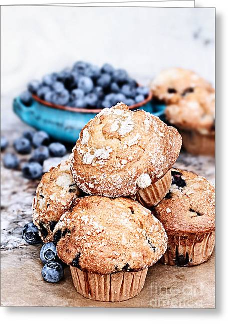 Ready-to-eat Greeting Cards - Blueberry Muffins and Fresh Berries Greeting Card by Stephanie Frey