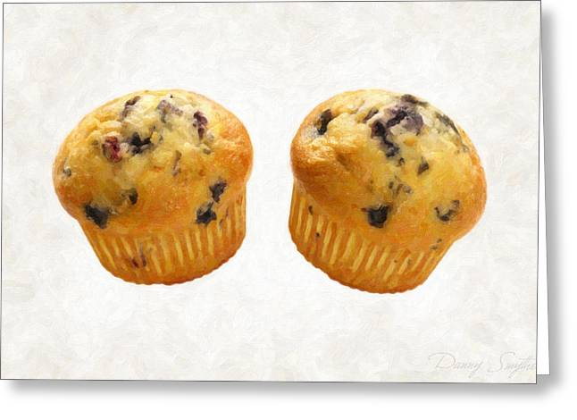 Batter Paintings Greeting Cards - Blueberry Muffins Greeting Card by Danny Smythe