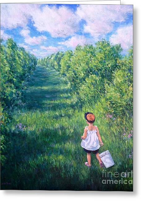 Blueberry Picking Greeting Card by Vickie Fears