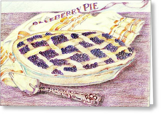 Blueberry Drawings Greeting Cards - Blueberry Pie Greeting Card by Candace  Hardy