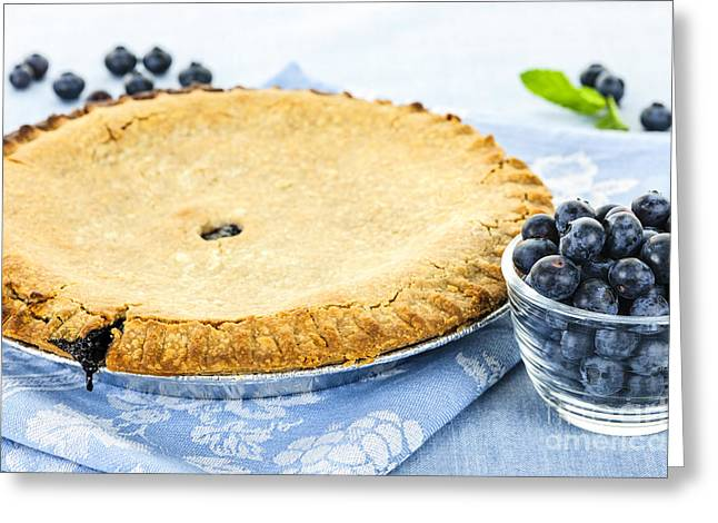Uncut Greeting Cards - Blueberry pie Greeting Card by Elena Elisseeva