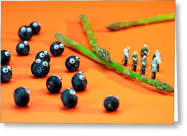 Blueberry protesting Greeting Card by Paul Ge
