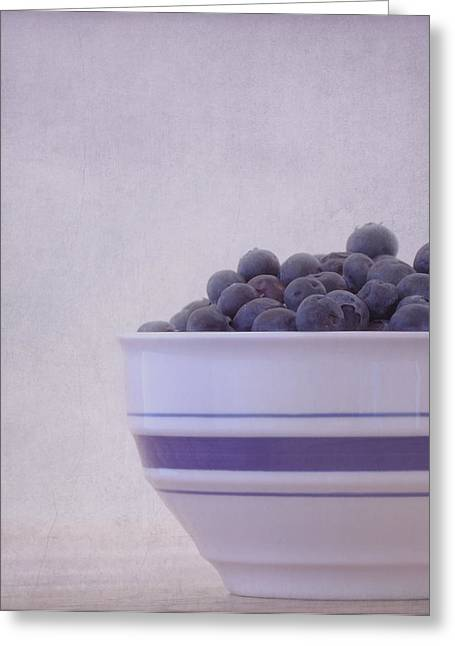 Blueberry Splash Greeting Card by Kim Hojnacki