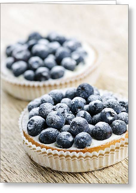 Portion Greeting Cards - Blueberry tarts Greeting Card by Elena Elisseeva