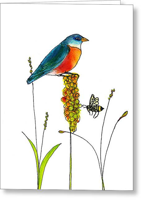 Honey Bee Greeting Cards - Bluebird and Bee Greeting Card by Blenda Studio