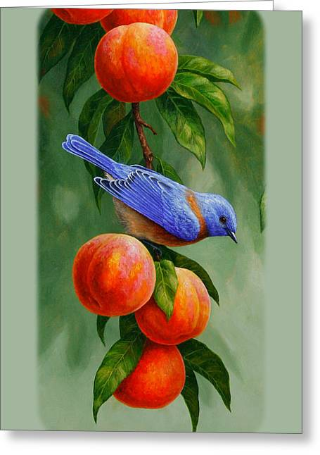 Peach Greeting Cards - Bluebird and Peach Tree iPhone Case Greeting Card by Crista Forest