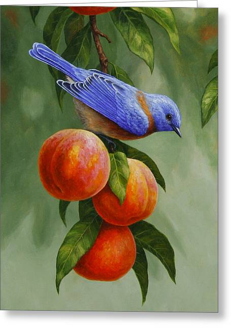 Song Birds Greeting Cards - Bluebird and Peaches Greeting Card 1 Greeting Card by Crista Forest