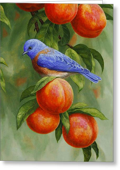 Song Birds Greeting Cards - Bluebird and Peaches Greeting Card 2 Greeting Card by Crista Forest