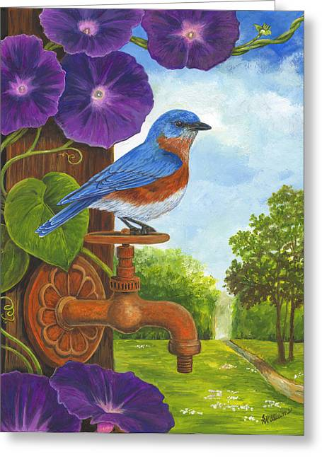 Faucet Paintings Greeting Cards - Bluebird and Rusty Faucet Greeting Card by Sandy Williams