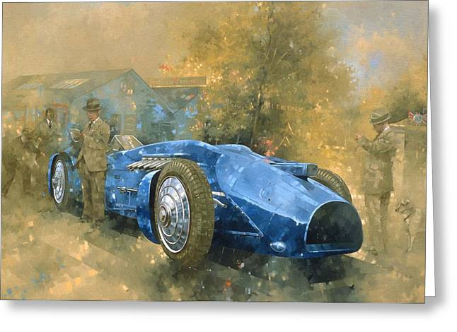 Race Photographs Greeting Cards - Bluebird At Brooklands Oil On Canvas Greeting Card by Peter Miller