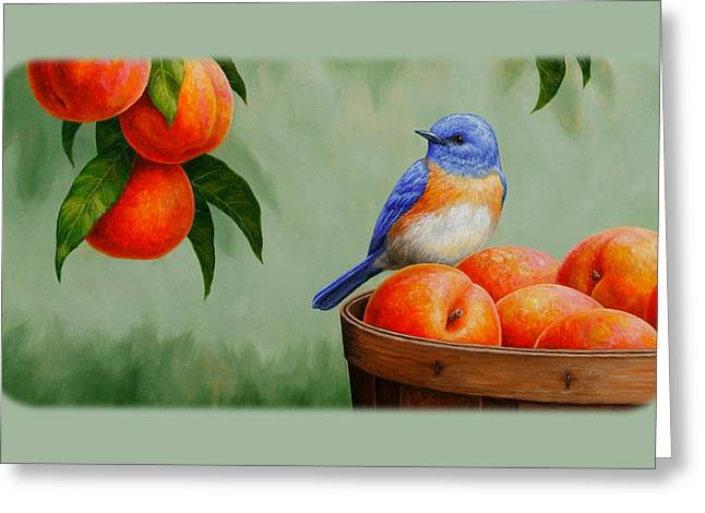 Peach Greeting Cards - Bluebird Fruit Basket iPhone Case Greeting Card by Crista Forest