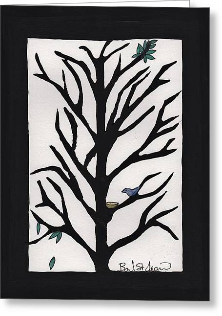 Lino Cut Drawings Greeting Cards - Bluebird in a Pear Tree Greeting Card by Barbara St Jean