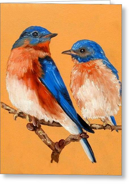 Cooperation Drawings Greeting Cards - Bluebird Love Greeting Card by Melinda DeMent