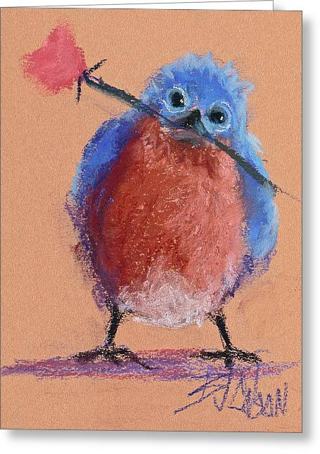 Valentine Pastels Greeting Cards - Bluebird of Happiness Greeting Card by Billie Colson
