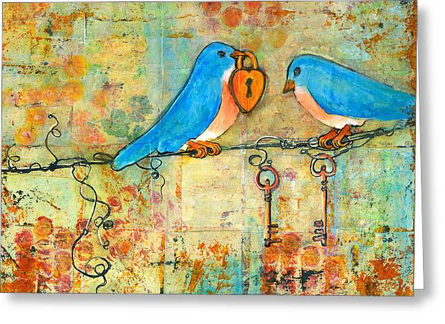 Bluebird Painting - Art Key To My Heart Greeting Card by Blenda Studio