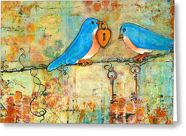 Bluebird Painting - Art Key to My Heart Greeting Card by Blenda Studio
