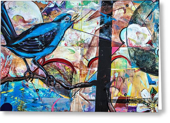Mural Mixed Media Greeting Cards - Bluebird Signs Greeting Card by Terry Rowe