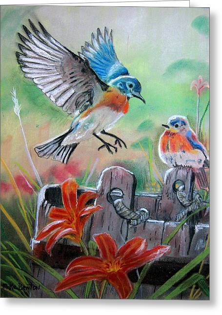 Spring Pastels Greeting Cards - Bluebirds Bucket Greeting Card by Mike Benton
