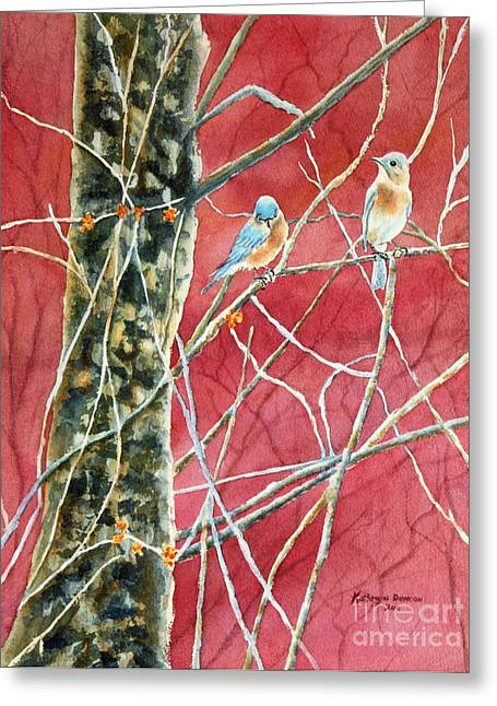 Bird Art Greeting Cards - Bluebirds In Early Spring Greeting Card by Kathryn Duncan