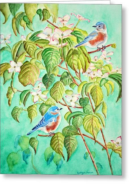 Bluebirds Greeting Cards - Bluebirds In Flowering Dogwood Tree Greeting Card by Kathryn Duncan