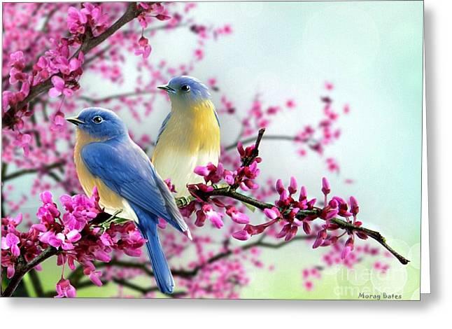 Morag Bates Greeting Cards - Bluebirds Greeting Card by Morag Bates