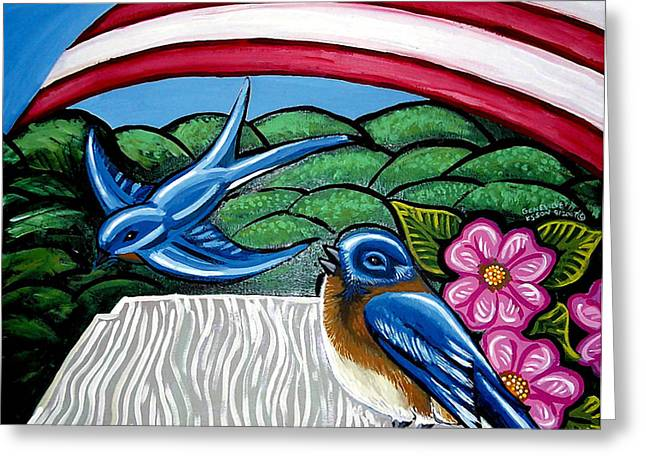 Red White And Blue Prints Greeting Cards - Bluebirds With Flag Greeting Card by Genevieve Esson