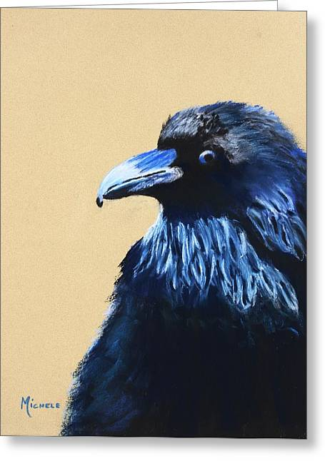 Raven Pastels Greeting Cards - BlueBlack Greeting Card by Michele Turney