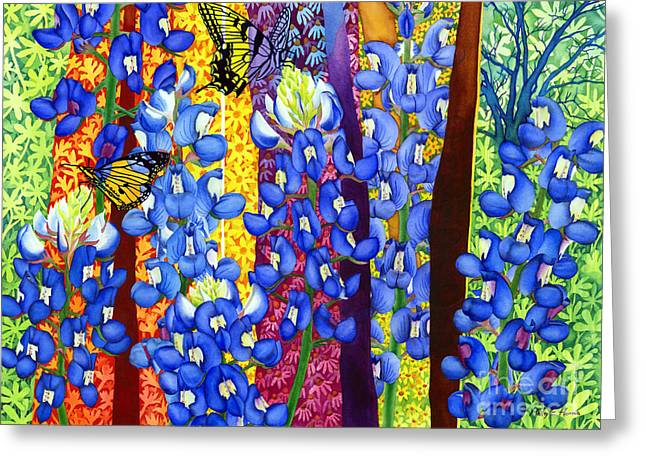 State Flowers Greeting Cards - Bluebonnet Garden Greeting Card by Hailey E Herrera