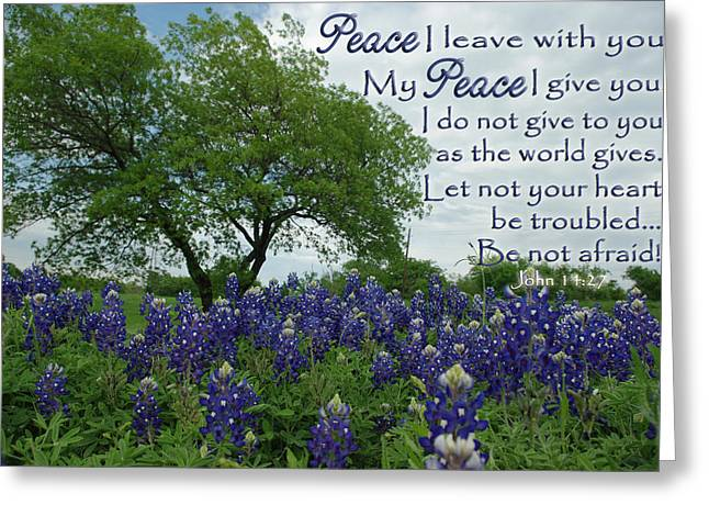 Give Me Flowers Greeting Cards - Bluebonnet Peace Greeting Card by Robyn Stacey