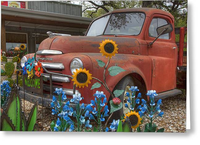 Wildflower Photos Greeting Cards - Bluebonnets and an Old Dodge Truck Greeting Card by Rob Greebon