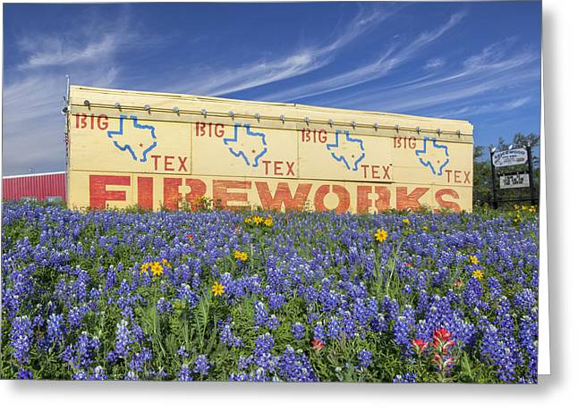 Wildfowers Greeting Cards - Bluebonnets and Fireworks Greeting Card by Rob Greebon