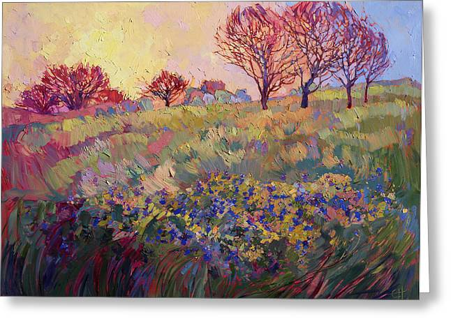 Bluebonnet Landscape Greeting Cards - Bluebonnets Greeting Card by Erin Hanson