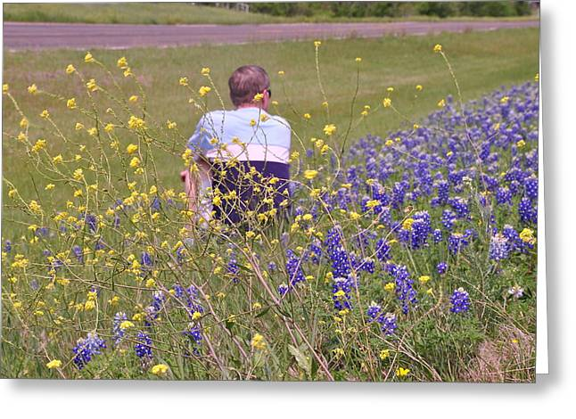 Landscape With A Road Greeting Cards - Bluebonnets on a Hill Figure Greeting Card by ARTography by Pamela  Smale Williams