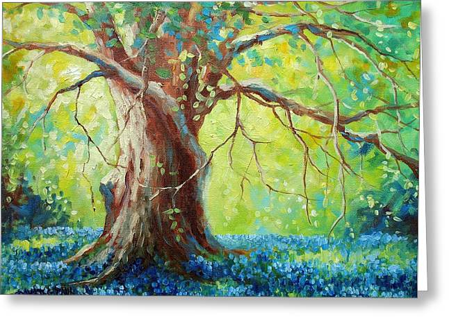 Oak Tree Paintings Greeting Cards - Bluebonnets Under The Oak Greeting Card by David G Paul