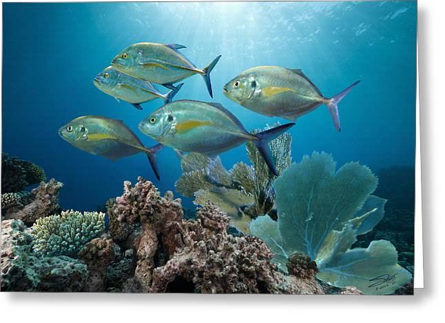 Reef Fish Digital Art Greeting Cards - Bluefin Trevally Greeting Card by Matthew Schwartz