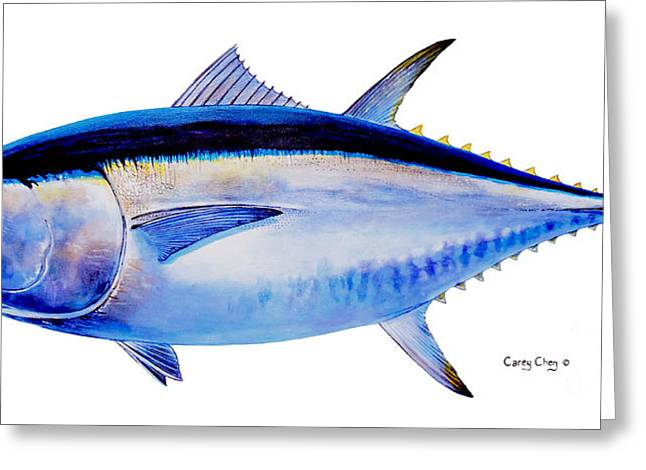 Fishing Rods Greeting Cards - Bluefin tuna Greeting Card by Carey Chen