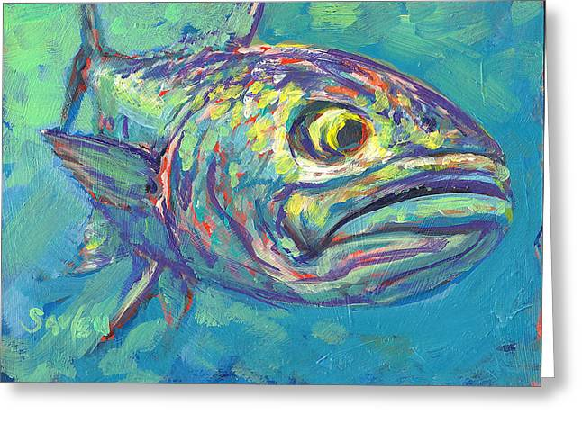 Fish Print Greeting Cards - Bluefish Study Greeting Card by Savlen Art