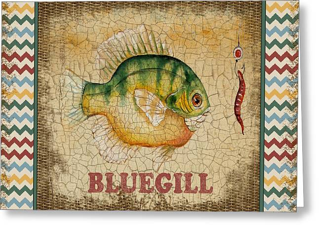 Brown Trout Greeting Cards - Bluegill-Chevron Greeting Card by Jean Plout