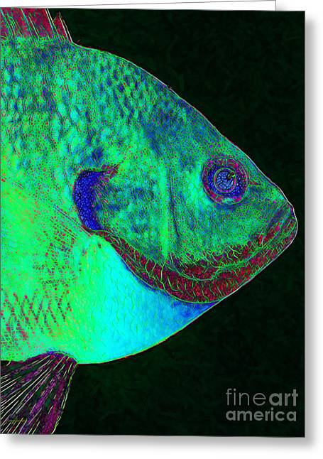 Bluegill Greeting Cards - Bluegill Fish p128 Greeting Card by Wingsdomain Art and Photography