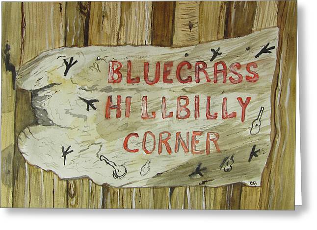 Arkansas Paintings Greeting Cards - Bluegrass Hillbilly Corner Greeting Card by Carol Blackhurst